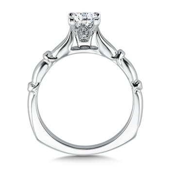 Solitaire mounting .02 tw., 5/8 ct. Princess center.