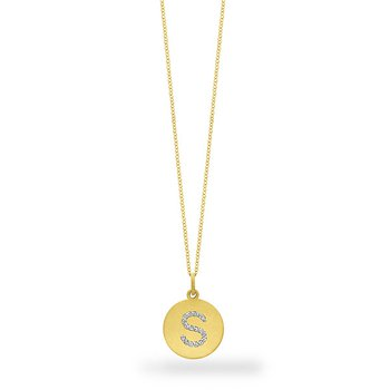 "Diamond Disc Initial ""S"" Necklace in 14k Yellow Gold with 17 Diamonds weighing .09ct tw."