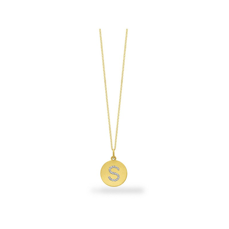 "KC Designs Diamond Disc Initial ""S"" Necklace in 14k Yellow Gold with 17 Diamonds weighing .09ct tw."