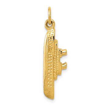 14k Solid Polished 3-D Cruise Ship Charm