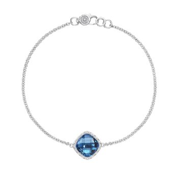 Solitaire Cushion Gem Bracelet with London Blue Topaz