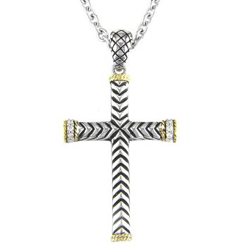 18kt and Sterling Silver Traditional Diamond Cross Pendant with Chain
