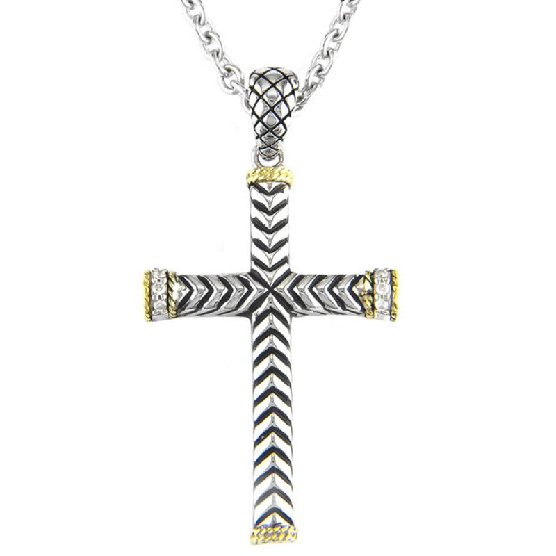Andrea Candela 18kt and Sterling Silver Traditional Diamond Cross Pendant with Chain