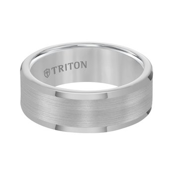 Tungsten Carbide Satin Finish Flat Center Men's Wedding Band