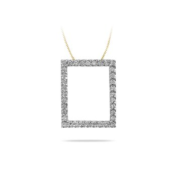 14K YG Diamond Fashion Rect Shape Pendant