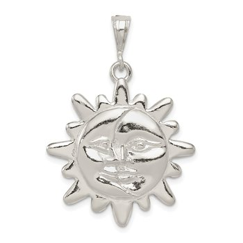 Sterling Silver Polished Sun & Half Moon Face Pendant