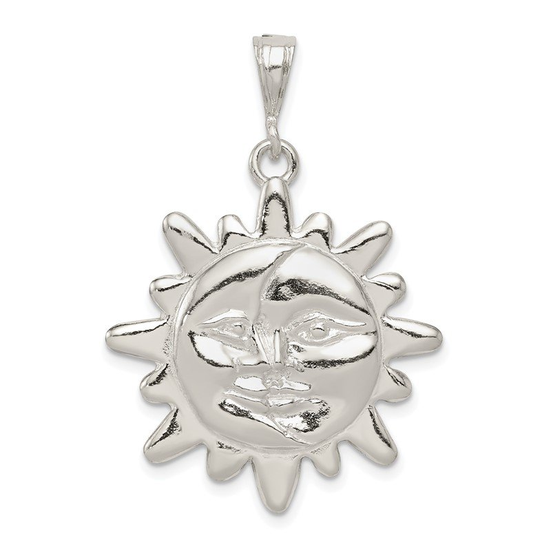 Quality Gold Sterling Silver Polished Sun & Half Moon Face Pendant