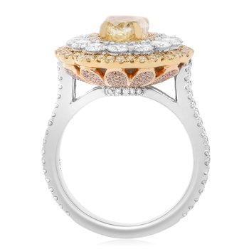 Tri-Colored Diamond Petal Ring