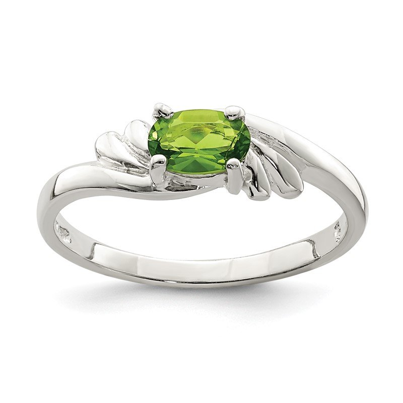 Quality Gold Sterling Silver Lime Green Oval CZ Ring