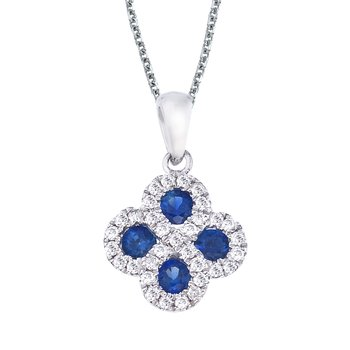 14k White Gold Sapphire and .13 ct Diamond Clover Pendant