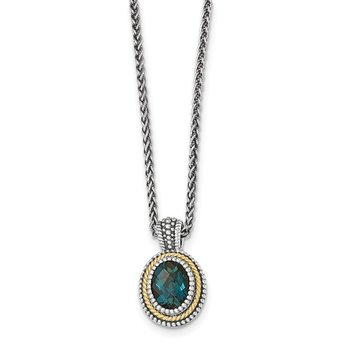 Sterling Silver w/14k London Blue Topaz Necklace