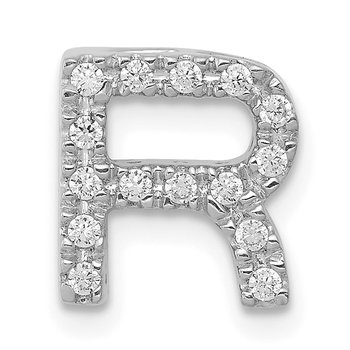 14K White Gold Diamond Letter R Initial Charm