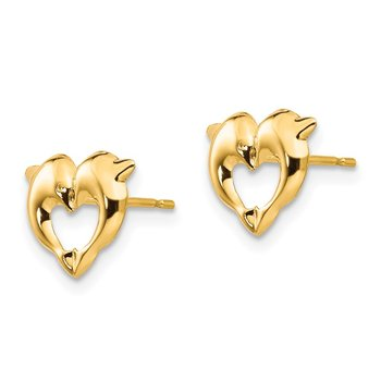 14k Madi K Heart Dolphins Post Earrings