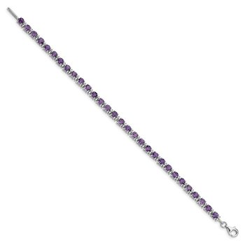 Sterling Silver Rhodium-plated Amethyst and Diamond Bracelet