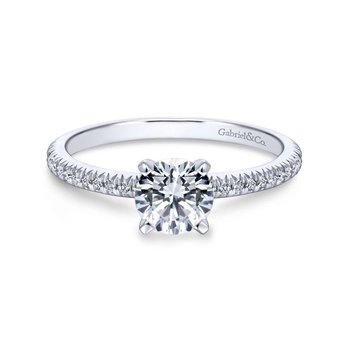 14k White Gold Petite Pave Diamond  Engagement Ring with Straight Band