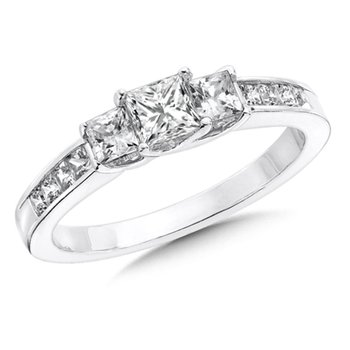 Princess Cut Diamond 3-Stone 14k White Gold Engagment Ring With Pave set Shank (1 ct. tw.).