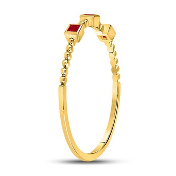 10kt Yellow Gold Womens Princess Ruby 3-Stone Beaded Stackable Band Ring 1/20 Cttw