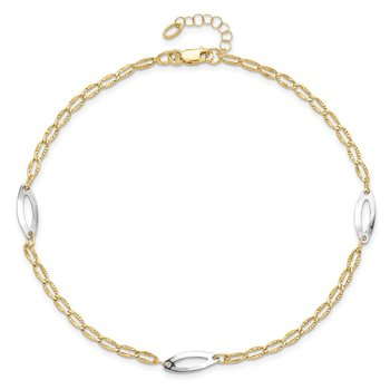 Leslie's 14k Two-tone Polished Diamond-cut with 1in ext. Anklet