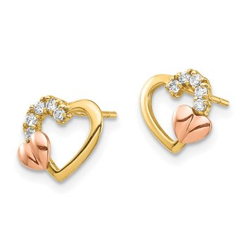 14K Two-Tone CZ Heart Post Earrings