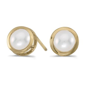 14k Yellow Gold Freshwater Cultured Pearl Bezel Stud Earrings
