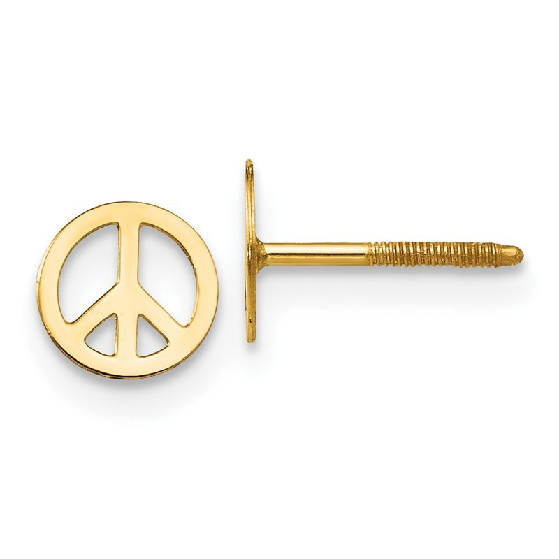 Quality Gold 14k Madi K Peace Sign Screwback Earrings