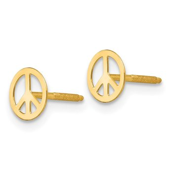 14k Madi K Peace Sign Screwback Earrings