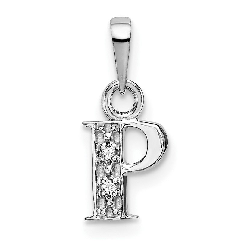 Quality Gold 14KW Rhodium-plated Diamond Letter P Initial Pendant
