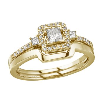 14K Yellow Gold Princess Diamond Band Ring Set