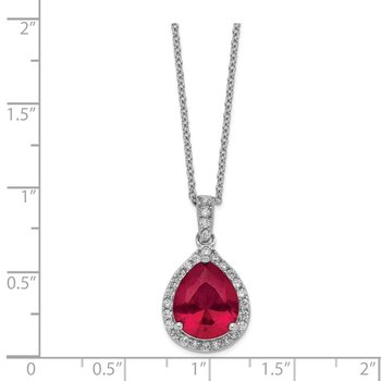 Cheryl M SS Rhodium Plated Created Ruby & CZ Pendant 18in Necklace