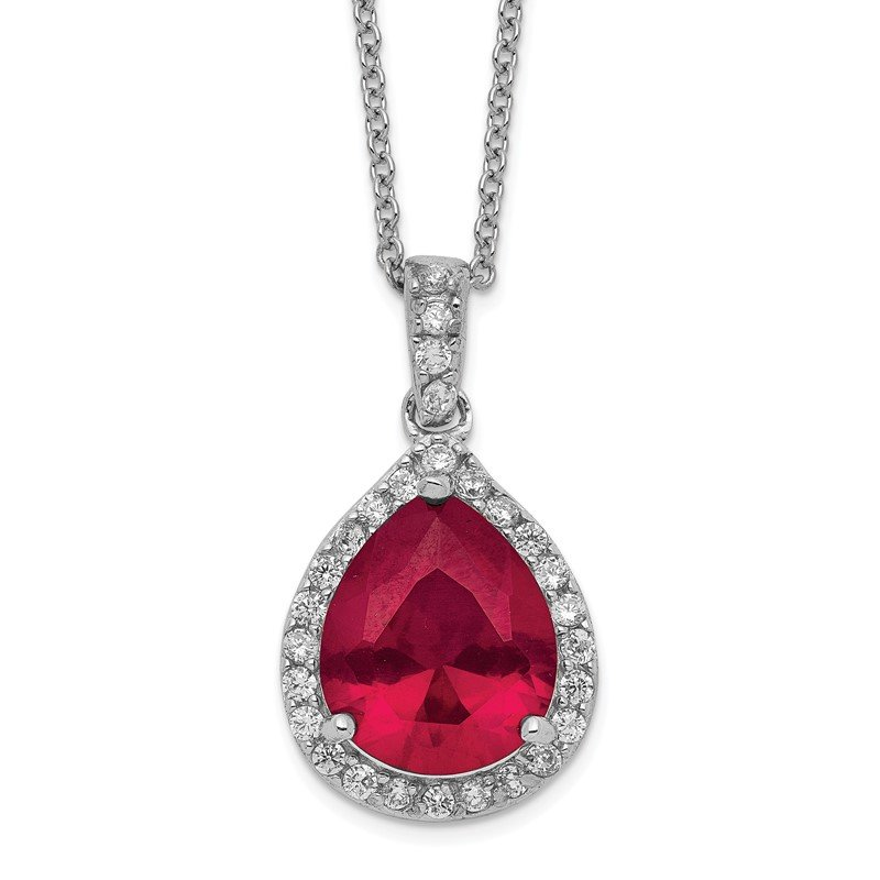 Cheryl M Cheryl M SS Rhodium Plated Created Ruby & CZ Pendant 18in Necklace