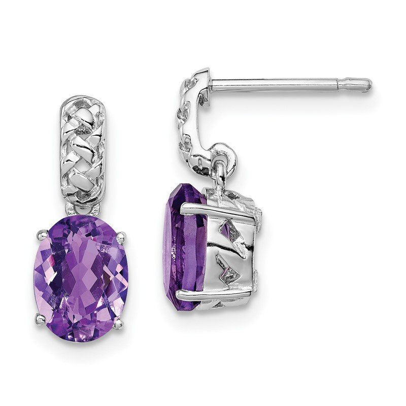 Quality Gold Sterling Silver Rhodium-plated Amethyst Earrings