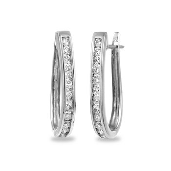 14K WG Diamond Hoops with J Backs