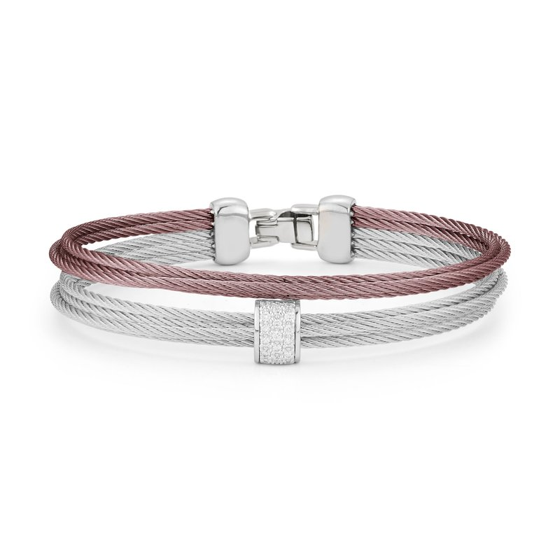 ALOR Grey & Burgundy Cable Small 2 Row Simple Stack Bracelet with 18kt White Gold & Diamonds