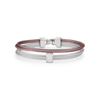 Grey & Burgundy Cable Small 2 Row Simple Stack Bracelet with 18kt White Gold & Diamonds