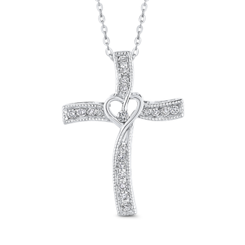 1/5 ct Round White Diamond Cross Pendant with Chain