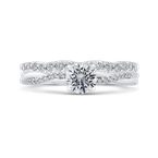 Promezza 14K White Gold Round Diamond Engagement Ring with Crossover Shank