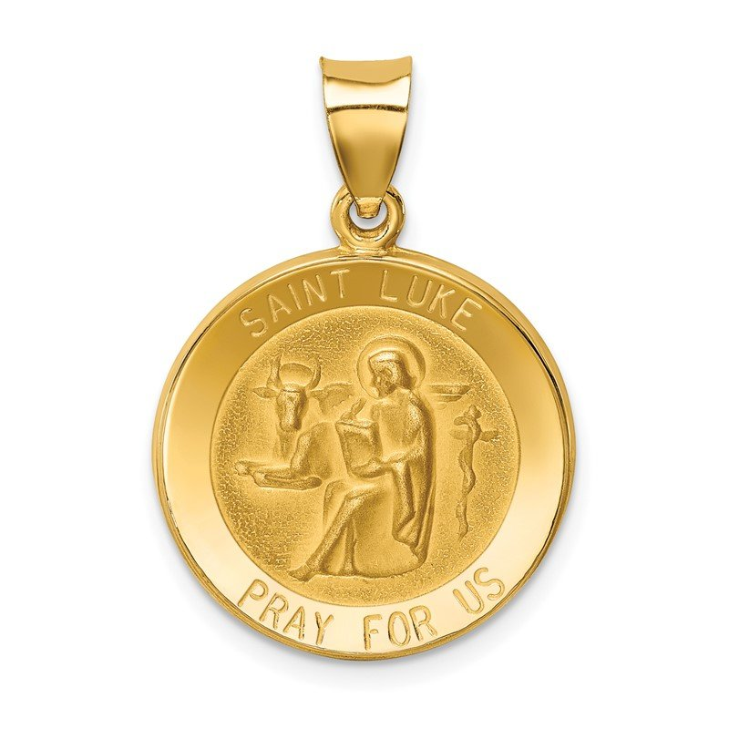 Quality Gold 14k Polished and Satin St Luke Medal Hollow Pendant