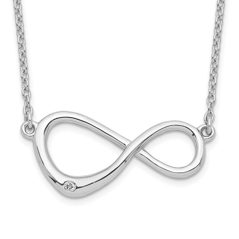 Quality Gold SS White Ice Diamond Infinity Symbol Necklace
