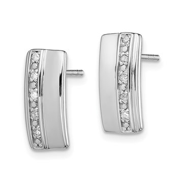 Sterling Silver Rhodium Plated Diamond Earrings
