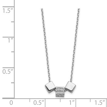 Sterling Silver Rhodium-plated CZ 3-Block Necklace