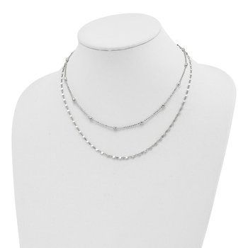 Sterling Silver Polished Double Strand w/4 in ext Choker