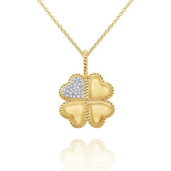 14k Gold and Diamond Lucky Clover Necklace