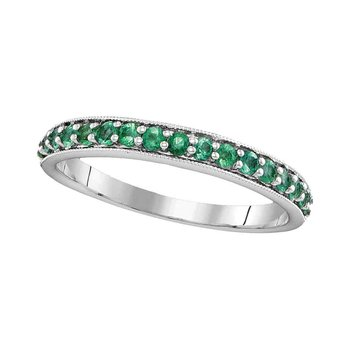14kt White Gold Womens Round Pave-set Emerald Single Row Band 1/2 Cttw