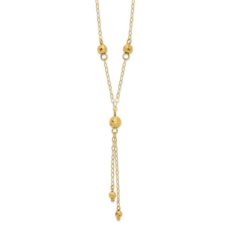 Quality Gold 14k Yellow Gold Bead Lariat with 2in ext Necklace