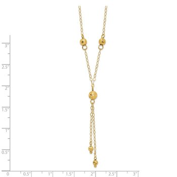 14k Yellow Gold Bead Lariat with 2in ext Necklace