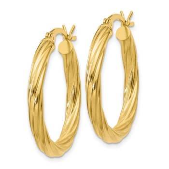 Sterling Silver Gold Flash Plated Twisted 3.5x25mm Hoop Earrings