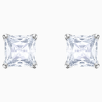 Swarovski Attract Stud Pierced Earrings, White, Rhodium plated