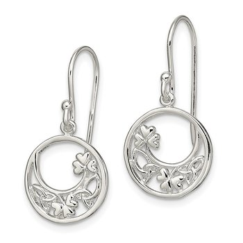 Sterling Silver Circle Clover and Celtic Knot Dangle Earrings