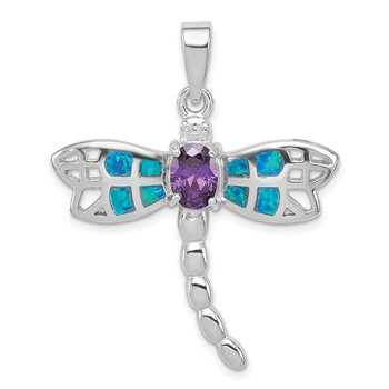 Sterling Silver Rhod plated Creat. Opal Dragonfly Amethyst Pendant