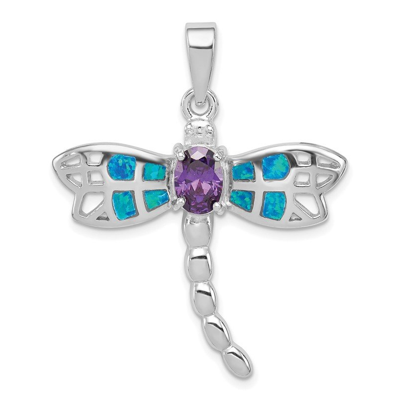 Quality Gold Sterling Silver Rhod plated Creat. Opal Dragonfly Amethyst Pendant